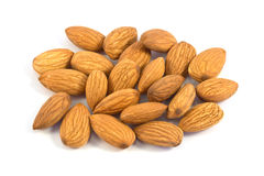 Pile of almond nuts isolated Royalty Free Stock Photography