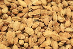 Pile of almonds closeup Stock Photo