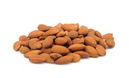 Pile of almonds, isolated Stock Photo