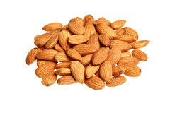 Pile of almonds isolated Royalty Free Stock Photos