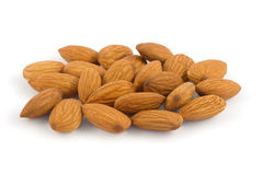 Pile of almonds isolated on wh. Ite background Stock Photography