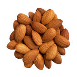 Pile of almonds isolated on white Royalty Free Stock Images