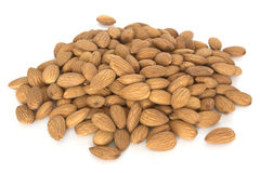 Pile of almonds isolated on white Royalty Free Stock Photo