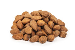 A pile of almonds isolated Royalty Free Stock Images