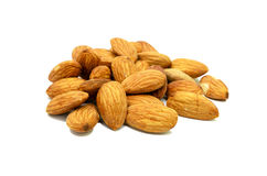 Pile of almonds isolated on white background. use for health con. Cept stock image