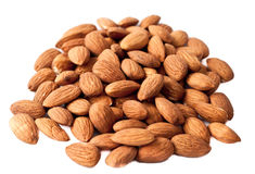 Pile of almonds. On a white background Stock Photo