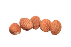 Pile of almonds on white background Stock Photo