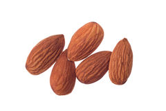Pile of almonds on white background Stock Image