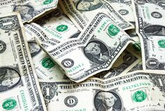 Pile of American banknotes. Background pile of one dollar American banknotes stock image