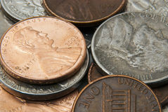 Pile of American coins. Background of different American coins in pile Royalty Free Stock Photos