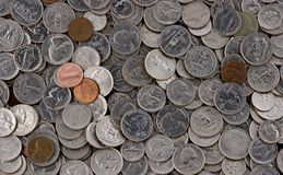 Pile of American Coins Stock Photo