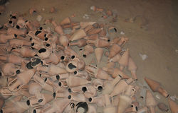 Pile of ancient amphorae stock photos