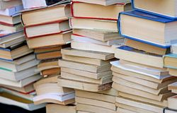Pile of ancient books for sale in the antique shop Royalty Free Stock Photography