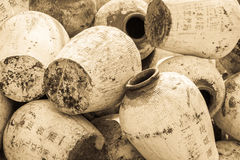 Pile of ancient chinese jugs Royalty Free Stock Photo