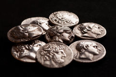 Pile of ancient greek silver coins royalty free stock photography