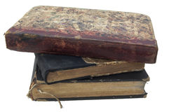 Pile of antique books isolated Stock Photo