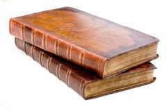Pile of antique leather books Royalty Free Stock Images
