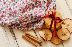 Pile of apple cookies tied up with ribbon and bow Royalty Free Stock Images