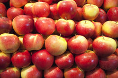 Pile of Apples on a Macro shot at the market Stock Photos
