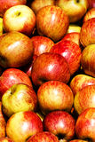 Pile of apples in a market stall. Red apples Stock Photo