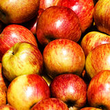 Pile of apples in a market stall. Red apples Royalty Free Stock Images