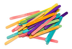 Pile of assorted colored craft sticks Stock Image