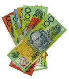 Pile of Australian banknotes. Isolated on a white background. Copyspace royalty free stock photos