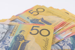 Pile of Australian Fifty Dollar Banknotes Stock Photo