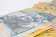 Pile of Australian Fifty Dollar Banknotes Royalty Free Stock Photography