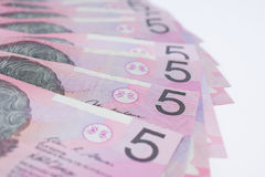 Pile of Australian Five Dollar Banknotes Stock Image