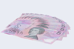 Pile of Australian Five Dollar Banknotes Stock Images