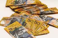 Pile of Australian $50 notes Royalty Free Stock Photography
