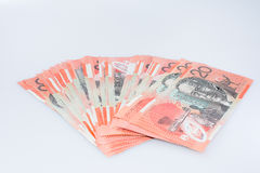 Pile of Australian Twenty Dollar Banknotes. John Flyn Side Royalty Free Stock Image