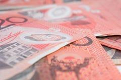 Pile of Australian Twenty Dollar Banknotes Royalty Free Stock Photography