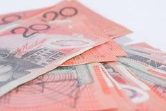 Pile of Australian Twenty Dollar Banknotes Stock Images