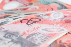 Pile of Australian Twenty Dollar Banknotes Stock Photos