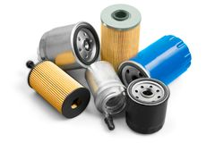 Pile automotive parts. Automotive automotive parts oil filters car parts car repair automotive repair filters Royalty Free Stock Image