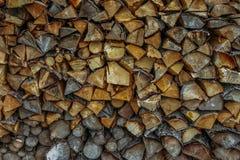 Pile avec du bois d'incendie Images stock