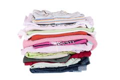 Pile of baby clothes Royalty Free Stock Photos