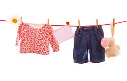 Pile baby clothes Royalty Free Stock Image