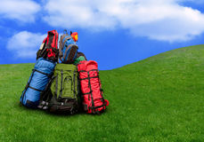 Pile of backpacks. In the nature Environmental tourism concept Stock Photo