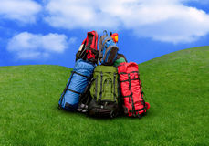 Pile of backpacks. In the nature Environmental tourism concept Royalty Free Stock Image