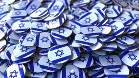 Pile of badges featuring flags of Israel. Badges featuring flag of Israel stock video