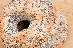 Pile of bagels with sesame seeds Stock Photos