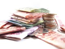 Pile of baht thai money, coins and banknotes royalty free stock images