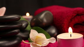 A pile of balanced black spa therapy stones stock video footage