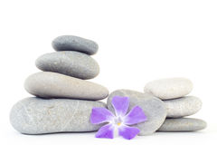 Pile of balanced stones whit a flower Royalty Free Stock Photography