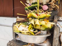 Pile of Balinese offerings made of palm leaves Stock Photo