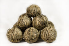Pile of balls of green tea. Pile of balls of exclusive green Chinese tea Royalty Free Stock Image
