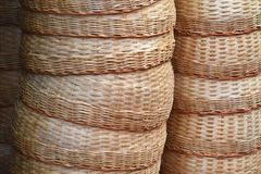 Pile of Bamboo basket hand made in the market for sale royalty free stock photo